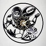 N-P Disque Vinyle Horloge Murale Jeu de Rugby Horloge Murale Disque Vinyle Horloge Murale Vintage Horloge Cadeaux d'anniversaire à la Main Maison décoration Murale lumière 12 Pouces