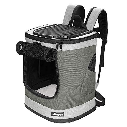 JESPET Pet Backpack Carrier for Small Dog, Puppy, Cat Carrier Backpack Airline Approved Ideal for Traveling, Hiking, Walking and Outdoor Activities with Family (Smoke Grey)