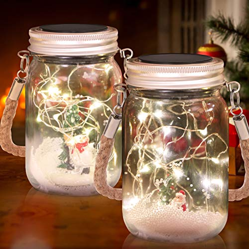 "Christmas Decorations Lantern 5.1"" Snow Scene Santa and Snowman Mason Jar Solar Lights Glass with 15 LEDs Fairy Firefly String Lights Christmas Solar Hanging Lights, Xmas Holiday Party Decor(2 pack)"