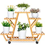ROSSNY Bamboo Plant Stand, 6 Tier Plant Stands for Indoor Plants Multi-Layer RollingPlant Shelf with Wheels Plant Display Stand Corner Plant Stand for Living Room Balcony Patio Yard Indoor Outdoor