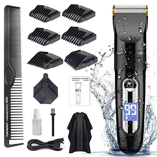 Hair Clippers for Men Cordless Professional, GOOLEEN Hair Clipper Set Beard Trimmer Hair Trimmer IPX7 Waterproof Rechargeable Electric Haircut Kit with Hairdressing Cape LCD Display