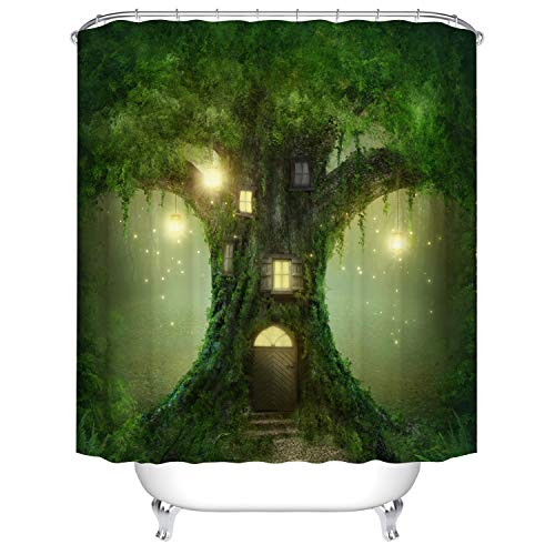 Duschvorhang Anti Schimmel, viele schöne Duschvorhänge zur Auswahl, hochwertige Qualität, inkl. wasserdicht, Anti Schimmel Effekt, Enchanted Wald Duschvorhang, 180 x 180 cm