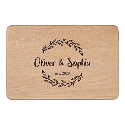 Tabla de cortar personalizada para quesos de madera, regalo para mamá, regalo de inauguración de la casa, regalo personalizado de boda, San Valentín o aniversario para familias (tabla de cortar 12)