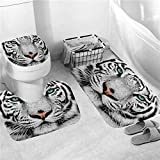 NUGKPRT Cortina de la Ducha,Animals Printing Shower Curtain Polyester Curtains in Bathroom Bath Carpet Set Rugs Toilet Mats Cool Home Decor 3PCMatSet-D