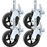 BestEquip 4 Pack Scaffolding Caster Wheels 8 x 2 Inch with Dual LockingRubber Swivel Caster 360 Degrees Heavy Duty Casters 1100LBS Capacity per Wheel