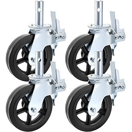 BestEquip - Ruedas giratorias para andamios de 8 x 2 pulgadas con doble bloqueo de goma giratoria 360 grados, capacidad de 1100 libras por rueda
