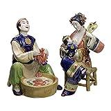 QIBAJIU Estatuas para Jardín Regalo Estatua Esculturas De Cerámica Coleccionables Tradicionales Chin...