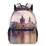 SXCVD Mochila informal,Puente de Carlos y torres de la ciudad vieja de Praga a oril,Mochila para portátil de negocios,Mochila de viaje de senderismo para hombres,mujeres,adolescentes