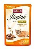 animonda Rafiné Adult cibo per gatti, alimento umido per gatti adulti, busta salvafreschezza, pollame + manzo in salsa di formaggio, 12 x 100 g