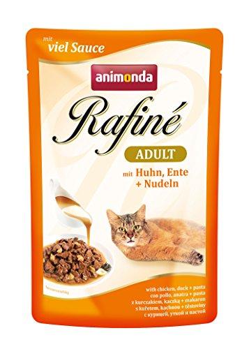 animonda Rafiné Adult Katzenfutter, Nassfutter für ausgewachsene Katzen, Frischebeutel, mit Huhn, Ente + Nudeln, 12 x 100 g