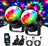 Sound Activated Party Lights with Remote Control Dj Lighting, RGB Disco Ball, Strobe Lamp 7 Modes Stage Par Light for Home Room Dance Parties Birthday DJ Bar Karaoke Xmas Wedding Show Club Pub-2PACK