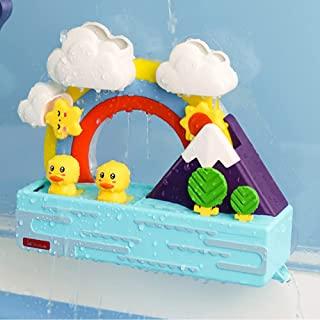 D-KINGCHY Baby Bath Toys for Toddlers Kids, Multicolored Bathtub Toys for Infant, Cute Ducks & Beautiful Rainbow Cloud wit...