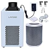 """LAYOND 4"""" Carbon Filter Grow Tent Ventilation System, 200CFM Super Quiet Inline Fan Kit, Bigger Capacity Full Charcoal Filter, Variable Speed Controller, 10ft Ducting and 5ft Power Cord Adaptor"""