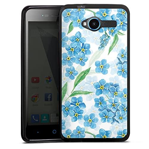 DeinDesign Silikon Hülle kompatibel mit ZTE Blade L3 Hülle schwarz Handyhülle Malerei Pfingstrose Blumen