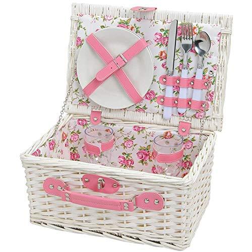 matches21 HOME & HOBBY Dames picknickmand - 2 personen Rieten mand wit/roze 11 stuks inclusief herbruikbaar servies