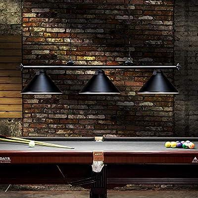 Wellmet 3 Light Pool Table Light, Vintage Retro Kitchen Island Pendant Light with Matte Black Shade, Modern Industrial Chandelier