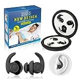 Tappi per le orecchie, Eargrace 3 coppie di tappi per le orecchie, tappi per le orecchie riutilizzabili in silicone ultra confortevoli per dormire, russare e proteggere l'udito(Nero)