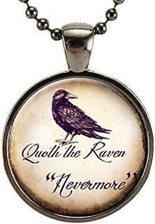 Quoth The Raven Necklace, Edgar Allan Poe Nevermore Jewelry, Halloween Crow Pendant