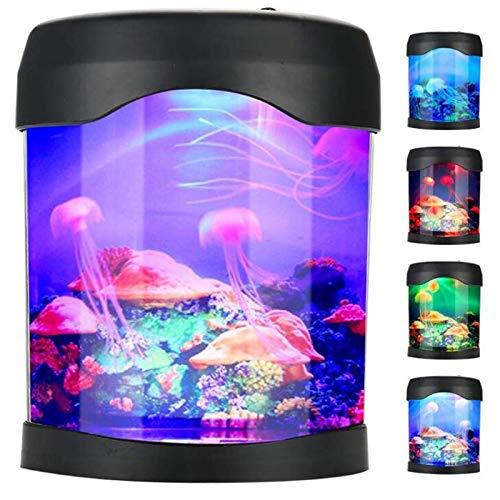 Abstract Luz De Noche De Medusas USB Luz De Humor para Acuario Mini Lámpara Portátil para Pecera De Escritorio con Cambio De Color para La Decoración del Hogar