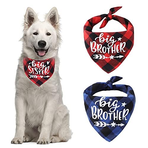 HACRAHO Plaid Hundehalstuch, 2 Stück Schwangerschaft Ankündigung Plaid Hund Bandana Big Brother Big Sister Triangle Dog Bandana für Hunde Katzen Welpen, Blau und Rot