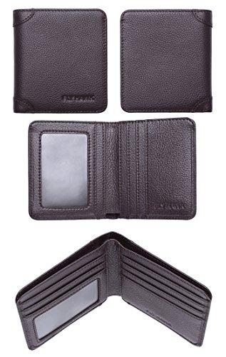 FlyHawk RFID Blocking Genuine Leather Wallets Mens Biford Mini&Slim Size Wallet (One Size, COFFEE – Mini Wallet – RFID Blocking – 2)