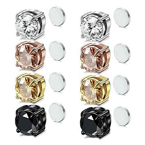 4 pares de aretes magnéticos de acero inoxidable para mujeres y hombres, sin clip, sin perforaciones, con clip para orejas, aretes magnéticos de cristal, imán, nariz, orejas, labio, sin (6 mm)