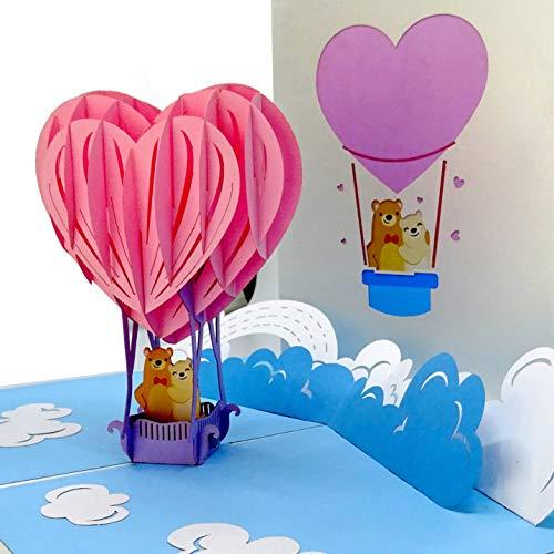 """3D Hochzeitskarte """"Love makes you fly"""" - Pop Up Glückwunschkarte & Einladungskarte mit Umschlag – zur Hochzeit & Hochzeitsreise – als Ballonfahrt Gutschein, Geschenkverpackung und Geburtstagskarte"""