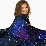 Lalaby Weighted Blanket for Kids (5lbs) - Bamboo and Minky Reversible Cover 41x60 for a Child 40-70 lbs - Cooling Heavy 100% Cotton Toddler Weighted Blanket - Washable Cover (Galaxy Print)