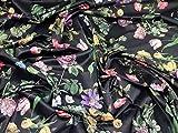Minerva Crafts Stretch-Satin mit Blumenmuster, Schwarz –