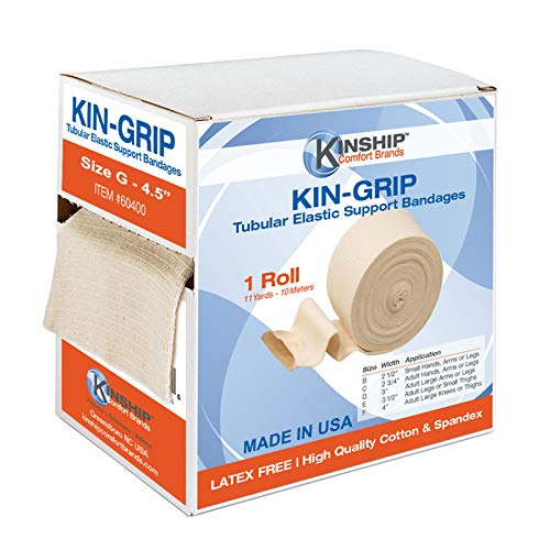 KinGrip Latex-Free Cotton Spandex Tubular Elastic Support Wound Care Bandages by Kinship Comfort Brands. Protect Soft, Fragile Skin. Made in USA (Available in Sizes B,C,D,E,F,G)