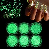 BISHENGYF 6 Boxes Luminous Nail Art Sequins, 3D Holography DIY Mixed Glitter Sequin Grow in the Dark...