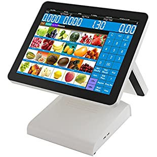 ZHONGJI 15.6 Inch All in One White Faddish Pos Point of Sale System/Double Touch Screen Pos Terminal Cash Register for Restaurant, Coffee Shop, Bubble Tea Shop, Bakery (AP-1500D)