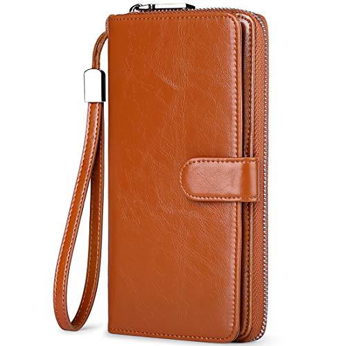 Huztencor - Portafogli lunghi da uomo e donna, in pelle con blocco RFID, porta carte di credito, con cinturino da polso - marrone - Large