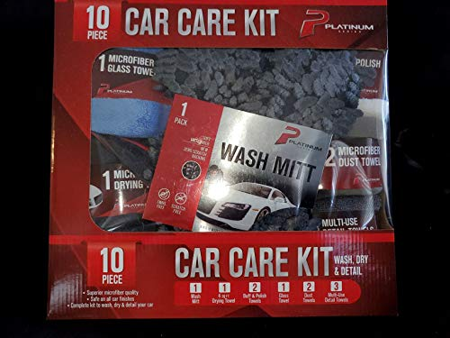 Platinum Series Microfiber Car Cleaning Kit, Extra-Absorbent Lint-Free Streak-Free Scratch-Free Automotive Microfiber Cloth Towels for Car Washing, Auto Detailing and Drying, 10 Piece Pack