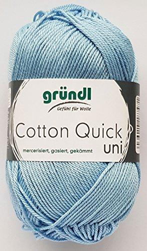 Gründl Wolle 50 Gramm Cotton Quick 100% Baumwolle (mercerisiert, gasiert, gekämmt (148 Hellblau)