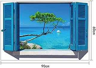 Skyllc® Hermosas pegatinas de pared de la sala de estar decoración azul de la ventana de entrada de forma pegatina dormitorio del Mediterráneo