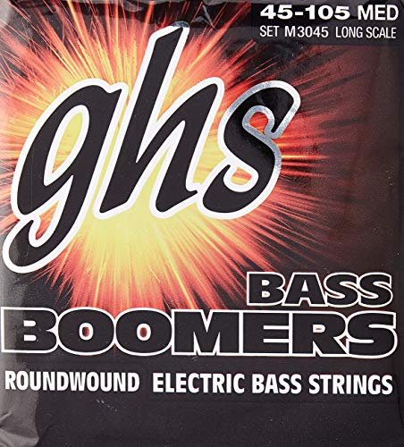 GHS Strings M3045 4-String Bass Boomers, Nickel-Plated Electric Bass Strings, Long Scale,...
