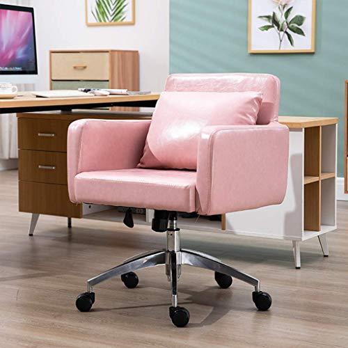 N&O Renovation House Chairs Fashion Mid Back Sofa Arbeitsstühle Drehbare Leder Computer Schreibtischstühle für Home Office Pink
