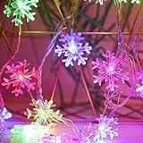 雪型 LEDイルミネーションライト AUOFAN フェアリーライト 6M 40LED 電池式 LEDストリングライト ハロウィーンライト クリスマスライト 点滅ライト 室内 室外 コン 防水 クリスマスツリー飾り クリスマス ハロウィン パーティー 正月 誕生日 結婚式 庭 広場 家装飾や、庭、ホテル、バー - マルチカラー