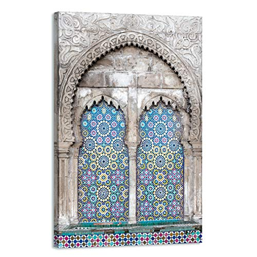 Cuadro oriental moderno – Decoración de pared árabe – 90 x 60 cm y 120 x 80 cm – Impresión sobre lienzo de alta resolución – Lienzo estirado sobre un marco de madera, 120 x 80 cm