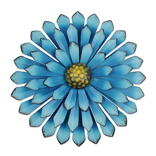 YiYa 33CM Decoración de Pared de Flores de Metal Múltiples Capas Arte de Pared de Flores Decoraciones de Arte de Pared Colgante para balcón Patio Porche Dormitorio Sala de Estar Jardín(Azul Cielo)