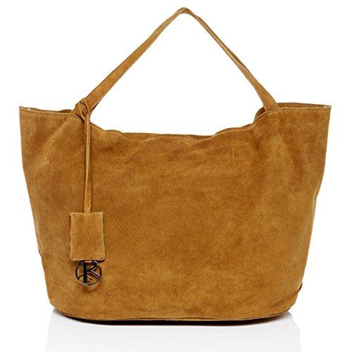 BACCINI Handtasche mit Langen Henkeln echt Wildleder Selma groß Henkeltasche Schultertasche Ledertasche Damen beige