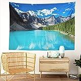Y·JIANG Tapiz de paisaje canadiense, Lago Moraine en el Parque Nacional Banff Alberta Home Dormitorio, tapiz grande decorativo de pared, manta para sala de estar, dormitorio, 203 x 152 cm