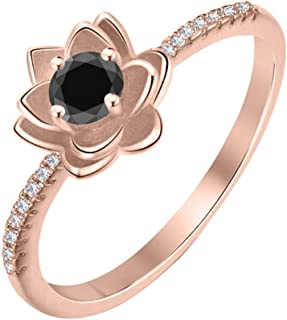 Lotus Flower Round Black & White Diamond 14K Gold Plated Women's Engagement Band Ring Sterling Silver