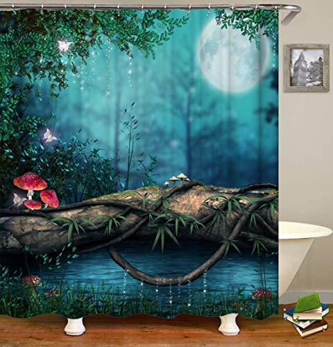 TJZ HOME Duschvorhang, Fantasy-Zauberwald, Märchenpilz, Dschungel, grüner Baum, Teich, Wiese, Schmetterling, Elfe, Nachtsicht, Polyester-Tuchdruck, Badezimmer-Gardinen-Set 72 x 72 (CX364)