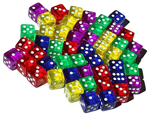 50 6-Sided Dice | 16mm | 5 Colors for Math and dice Games