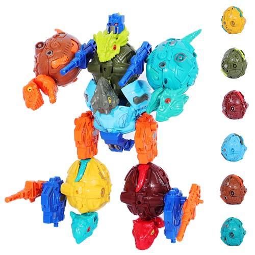 TUNJILOOL Dinosauri Giocattolo, Uova Dinosauro Assemblare Robot, Dinosauro Regalo Educativo per Bambini Più di 6 Anni