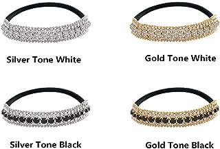 Casualfashion Ponytail Holder Stretchy Elastic Hair Tie Sparkling Crystal Rhinestone Hair Band Headband Hair Accessories for Women, 1Pcs (Silver Tone White)
