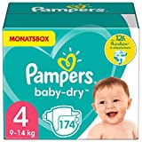 Pampers Größe 4 Baby Dry Windeln, 174 Stück, MONATSBOX, Für...