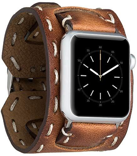 Burkley Leder Armband für Apple Watch 1/2 / 3/4 / 5 Uhrenarmband in breiter Ausführung mit Dornverschluss kompatibel mit Apple Watch 42/44mm (Sattel Braun)